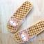 K011-BR2 **พร้อมส่ง** (ปลีก+ส่ง) รองเท้านวดสปา เพื่อสุขภาพ ปุ่มเล็ก ลายลิง สีน้ำตาล thumbnail 3