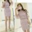 แฟชั่นเกาหลี set เสื้อ และกระโปรงน่ารักมากๆ ผ้าลูกไม้ยืดลายตามแบบ สีม่วง thumbnail 4