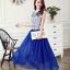 ชุดเดรสยาว Brand เกาหลี ชุดเดรสยาวแขนกุด ตัวเสื้อผ้าไหมสีขาว ปักด้วยด้ายสีน้ำเงิน กระโปรงผ้ามุ้งสีน้ำเงิน สวยมากๆครับ (พร้อมส่ง) thumbnail 2