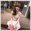 dress ชุดเดรสแฟชั่น เดรสแขนกุด ชุดเดรสใส่เที่ยว ชุดเดรสใส่ทำงาน ผ้าชีฟอง สีชมพู - ขาว พร้อมเข็มขัด น่ารัก thaishoponline thumbnail 4