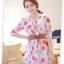 fashion ชุดทำงาน ชุดเดรสทำงาน แฟชั่นเกาหลี ลายดอกไม้ สีแดง ผ้าชีฟอง แถมเข็มขัดสีน้ำตาล (พร้อมส่ง) thumbnail 3