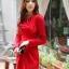 fashion ชุดทำงาน ชุดทํางานเกาหลี สีแดง คอแต่งระบาย แขนยาว กระโปรงสั้นเข้ารูป ซิปข้าง ซื้อเป็นของขวัญให้แฟนน่ารักดีครับ (พร้อมส่ง) thumbnail 1