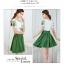 ชุดเดรสสั้น แฟชั่นเกาหลี ผ้าชีฟอง เนื้อดีสีขาว ปักลายดอกไม้ที่หน้าอกและแขนเสื้อสีเขียว คอและปลายแขนเสื้อจั๊ม thumbnail 7