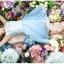 ชุดเดรสออกงาน ผ้าชีฟอง เนื้อดี สีฟ้า แขนกุด ตัวเสื้อเย็บซ้อนด้วยผ้าถักลายดอกไม้ สีขาว thumbnail 8