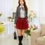 แฟชั่นเกาหลี เสื้อผ้าคอตตอน ทอลายตารางเล็กๆ สีดำขาว แขนยาว หน้าอกเสื้อแต่งด้วยผ้าถักวงกลมสีขาว thumbnail 5