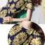 DRESS ชุดเดรสแฟชั่นแขนสั้น ผ้าชีฟอง ใส่ทำงาน สีน้ำเงินลายดอกไม้สีเหลือง อัดพลีททั้งชุด จั๊มเอว พร้อมเชือกผูกเอว สามารถใส่ออกงานได้ น่ารัก thaishoponline (พร้อมส่ง) thumbnail 7