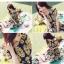 DRESS ชุดเดรสแฟชั่นแขนสั้น ผ้าชีฟอง ใส่ทำงาน สีน้ำเงินลายดอกไม้สีเหลือง อัดพลีททั้งชุด จั๊มเอว พร้อมเชือกผูกเอว สามารถใส่ออกงานได้ น่ารัก thaishoponline (พร้อมส่ง) thumbnail 6