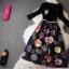ชุดเดรสสั้น ตัวเสื้อผ้าคอตตอนผสม spandex ยืดหยุ่นได้ดี สีดำ แขนยาวสี่ส่วน thumbnail 6