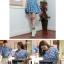 CHERRY DRESS ชุดเดรสแฟชั่นผ้ายีนส์ ลายจุดสีขาว คอปก แขนสั้น สีฟ้า กระดุมหน้าสีแดง จั๊มเอว ใส่ทำงาน ใส่เที่ยว วัยทีน น่ารัก thaishoponline (พร้อมส่ง) thumbnail 2