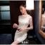 ชุดเดรสสวยๆ ผ้าคอตตอนผสม spandex สีขาว แขนยาว แขนเสื้อผ้าซีทรู thumbnail 6