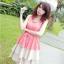 DRESS ชุดเดรสแฟชั่นแขนกุด สีชมพู กระโปรงแต่งระบาย พริ้ว มาพร้อมเชือกผูกเอว ใส่ทำงาน ใส่เที่ยว น่ารัก THAISHOPONLINE (พร้อมส่ง) thumbnail 1