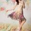 ชุดเดรสสั้น Brand QYLP ชุดเดรส ผ้าถักลายดอกไม้ สีครีม กระโปรงผ้าชีฟองอัดพลีต ผ้าลายดอกกุหลาบสีชมพู (พร้อมส่ง) thumbnail 2