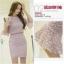 แฟชั่นเกาหลี set เสื้อ และกระโปรงน่ารักมากๆ ผ้าลูกไม้ยืดลายตามแบบ สีม่วง thumbnail 6