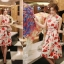 ชุดเดรสแขนกุด ผ้าชีฟอง ชนิดเนื้อย่นในตัว พิมพ์ลายดอกไม้โทน สีแดง thumbnail 3