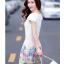 ชุดเดรสน่ารัก แฟชั่นเกาหลี ตัวเสื้อผ้าชีฟองเนื้อดี สีขาว thumbnail 4
