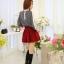 แฟชั่นเกาหลี เสื้อผ้าคอตตอน ทอลายตารางเล็กๆ สีดำขาว แขนยาว หน้าอกเสื้อแต่งด้วยผ้าถักวงกลมสีขาว thumbnail 9