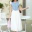 ชุดเดรสยาว ตัวเสื้อผ้ายีนส์ แต่งมุกสีขาว และคริสตรัลใส รอบคอเสื้อ กระโปรงผ้าชีฟองเนื้อดีสีขาว อัดพลีต thumbnail 2