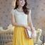 ชุดเดรสออกงาน น่ารัก แฟชั่นเกาหลี สีเหลือง เสื้อผ้าลูกไม้อย่างดี คอปกประดับมุก แขนกุด กระโปรงพลีทบาน ซิปข้าง มีซับใน ใส่ออกงานสวยมากๆครับ (พร้อมส่ง) thumbnail 1