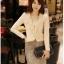 เสื้อเกาหลี style goodyou เสื้อคลุมผ้าเนื้อผสมสี beige แขนยาวแต่งผ้าซีฟองที่ขอบวนดอกกุหลาบ สวยเหมือนแบบ100% ครับ พร้อมส่ง thumbnail 5