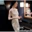 ชุดเดรสสวยๆ ผ้าคอตตอนผสม spandex สีขาว แขนยาว แขนเสื้อผ้าซีทรู thumbnail 7