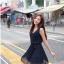 ชุดเดรสสั้น เกาหลี : เดรสชีฟองแขนกุด สีน้ำเงินเข้ม แต่งคอมุก ใส่เที่ยวสวยมากๆ ครับ ฟรีไซส์ thaishoponline (พร้อมส่ง) thumbnail 1