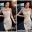 ชุดเดรสสวยๆ ผ้าคอตตอนผสม spandex สีขาว แขนยาว แขนเสื้อผ้าซีทรู thumbnail 4