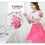 ชุดเดรสแฟชั่น เดรสตัวเสื้อผ้าชีฟอง เนื้อดีสีขาว ปักลายดอกไม้ที่หน้าอกและแขนเสื้อสีชมพู คอและปลายแขนเสื้อจั๊ม thumbnail 5