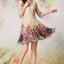 ชุดเดรสสั้น Brand QYLP ชุดเดรส ผ้าถักลายดอกไม้ สีครีม กระโปรงผ้าชีฟองอัดพลีต ผ้าลายดอกกุหลาบสีชมพู (พร้อมส่ง) thumbnail 3