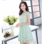 ชุดเดรสสวยๆ ผ้าลายตาราง และลายดอกไม้ สีเขียว แขนสั้น thumbnail 4
