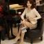 เสื้อเกาหลี style goodyou เสื้อคลุมผ้าเนื้อผสมสี beige แขนยาวแต่งผ้าซีฟองที่ขอบวนดอกกุหลาบ สวยเหมือนแบบ100% ครับ พร้อมส่ง thumbnail 8