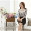 เสื้อผ้าลูกไม้ แฟชั่นเกาหลี สีขาวดำ พิมพ์ลาย ยืดหยุ่นได้ดี แขนยาว คอเสื้อแต่งด้วยมุก และคริสตรัลใส thumbnail 5