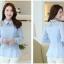 เสื้อชีฟอง ผ้าเนื้อดี แขนยาว สีฟ้า คอปก สวยมากๆ thumbnail 4