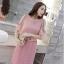 ชุดเดรสสวยๆ ผ้าคอตตอนฉลุลายตามแบบ สีชมพู ตัวเดรสด้านในแขนกุด thumbnail 4