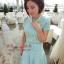 เสื้อผ้าแฟชั่น Vivi party ครบ set เสื้อ+กระโปรง ผ้านิตติ้งสีฟ้า ยืดหยุ่นได้ดี แขนสั้น กระโปรงทรงย้วย (พร้อมส่ง) thumbnail 2