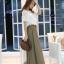 แฟชั่นเกาหลี Set 2 ชิ้น เสื้อ + กระโปรง เสื้อ:ผ้าถักลายดอกไม้สีขาว มีซับใน กระโปรงยาว: ผ้าคอตตอนผสม สีเขียวขี้ม้า thumbnail 6