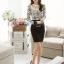 เสื้อผ้าลูกไม้ แฟชั่นเกาหลี สีขาวดำ พิมพ์ลาย ยืดหยุ่นได้ดี แขนยาว คอเสื้อแต่งด้วยมุก และคริสตรัลใส thumbnail 6