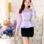 เสื้อผ้าลูกไม้ แฟชั่นเกาหลีมาใหม่ สีม่วง thumbnail 5