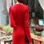 fashion ชุดทำงาน ชุดทํางานเกาหลี สีแดง คอแต่งระบาย แขนยาว กระโปรงสั้นเข้ารูป ซิปข้าง ซื้อเป็นของขวัญให้แฟนน่ารักดีครับ (พร้อมส่ง) thumbnail 5