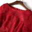 ชุดเดรสลูกไม้ สีชมแดง แขนยาวห้าส่วน เดรสเข้ารูปช่วงเอว กระโปรงทรงเอ thumbnail 8