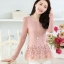 แฟชั่นเกาหลี เสื้อตัวยาว ผ้าลูกไม้ สีชมพู ชายเสื้อ ฉลุลายดอกไม้ แขนยาว thumbnail 2
