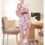 fashion ชุดทำงาน ชุดเดรสทำงาน แฟชั่นเกาหลี ลายดอกไม้ สีแดง ผ้าชีฟอง แถมเข็มขัดสีน้ำตาล (พร้อมส่ง) thumbnail 4