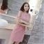 ชุดเดรสสวยๆ ผ้าคอตตอนฉลุลายตามแบบ สีชมพู ตัวเดรสด้านในแขนกุด thumbnail 7