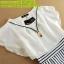 ชุดเดรส DOWISI เดรสตัวเสื้อผ้าซีฟอง สีขาว แขนปีกกว้างคอกลม ต่อด้วยกระโปรง ผ้าค๊อตตอน ลายขวาง สีขาวดำ พร้อมส่ง thumbnail 16