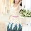 ชุดเดรสสั้น แฟชั่นเกาหลี ผ้า COTTON พิมพ์ลายดอกไม้ แขนผ้าชีฟอง ปลายแขนเป็นยางยืด ซิปข้าง มีซับใน แถมเข็มขัด พร้อมส่ง thumbnail 3