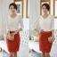 เสื้อทำงาน เสื้อแฟชั่น เสื้อเกาหลี เสื้อแขนยาว ประดับมุกที่คอ ด้านหน้าผ้าสองชิ้น ชิ้นนอกผ้าชีฟอง เสื้อผ้ายืด สีขาว สวยมากๆ (พร้อมส่ง) thumbnail 4