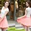 ชุดเดรสสั้น แฟชั่นเกาหลี น่ารัก สีชมพู เสื้อลูกไม้ สีขาว แขนสั้น กระโปรงสั้นชีฟอง ซิปข้าง เหมือนแบบ (มีรูปสินค้าจริง) พร้อมส่ง thumbnail 5