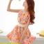 ชุดเดรสสั้น แฟชั่นเกาหลี สีส้มอ่อนลายดอกไม้ ผ้าชีฟองมีซับใน ซิบหลัง แถมผ้าผูกเอวสีขาว ซื้อเป็นของขวัญให้แฟนเหมาะมากๆ ครับ(พร้อมส่ง) thumbnail 2