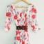 fashion ชุดทำงาน ชุดเดรสทำงาน แฟชั่นเกาหลี ลายดอกไม้ สีแดง ผ้าชีฟอง แถมเข็มขัดสีน้ำตาล (พร้อมส่ง) thumbnail 5