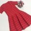 ชุดเดรสแฟชั่น ผ้าถักนิ้ตติ้ง ลายรูปหัวใจ สีแดง แขนสั้น thumbnail 6