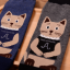 [เซต2คู่] ลายใหม่ถุงเท้าลายแมวนั่งสมาธิ เก๋ๆ เซตคู่สีเทาและกรมท่า thumbnail 5